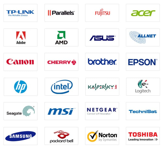 TP-Link, Parallels, Fujitsu, acer, adobe, amd, asus, allnet, cannon, cherry, brother, epson, hp, intel, kaspersky, logitech, seagate, msi, netgear, technisat, samsung, packard bell, norton by symantec, toshiba